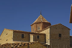 La Asuncion churh in Catavieja, Maestrazgo, Teruel province, Spain Stock Images