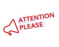 La atención badge por favor Foto de archivo libre de regalías