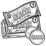 La atención sanitaria cuesta bosquejo Fotografía de archivo