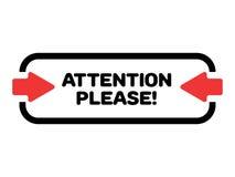 La atención vector por favor Ejemplo rectangular con las flechas rojas para asir la atención Fotografía de archivo libre de regalías