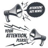 La atención vector por favor símbolos con el megáfono de la voz Cartel comercial libre illustration