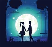 La atmósfera romántica, junta la luna y el lago en cerca stock de ilustración