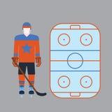 La atribución del jugador de hockey viste el ejemplo del vector Imagen de archivo