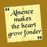 La ausencia hace que el corazón crece un ejemplo más encariñado del vector de la cita de la motivación ilustración del vector