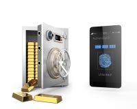 La autentificación elegante app del teléfono desbloqueó el metal seguro y muchas barras de oro en la caja fuerte Fotografía de archivo
