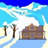 La avalancha de la nieve en montañas cubrió el tejado y árboles de la cabaña ilustración del vector