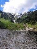La avalancha fluye abajo desde arriba de la montaña Imagen de archivo libre de regalías