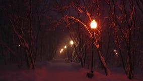 La avenida oscura del desierto en el cuadrado nevado por la luz de farolas metrajes