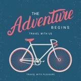 La aventura comienza el cartel con la silueta de la bicicleta Imagen de archivo libre de regalías