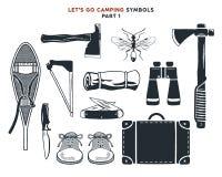 La aventura dibujada mano del vintage, el caminar, acampando forma Raquetas del vintage, hachas, bolso del viaje, prismáticos, cu ilustración del vector