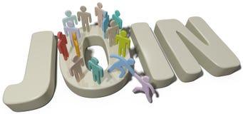 La ayuda de la persona se une al social o a la gente de la compañía Imágenes de archivo libres de regalías