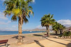 La Azohia Murcia Spain with seafront and palm trees stock images