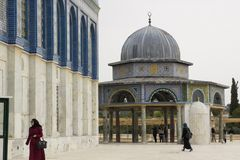 La bóveda de la capilla islámica Jerusalén de la roca Imágenes de archivo libres de regalías