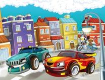 La búsqueda, coche que apresura stock de ilustración