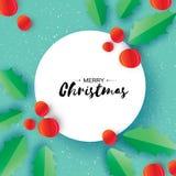 La bacca dell'agrifoglio lascia l'icona di Natale Illustrazione di vettore Immagini Stock