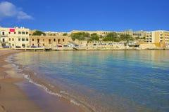 La bahía de San Jorge, St Julians, Malta Imagen de archivo libre de regalías