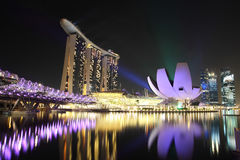 La bahía del puerto deportivo enarena Singapur Fotos de archivo libres de regalías