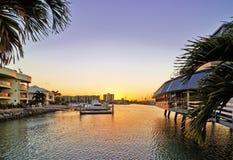 La bahía en la puesta del sol Imágenes de archivo libres de regalías