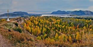 La baia del fiume Volga le montagne di Zhiguli. Fotografie Stock Libere da Diritti