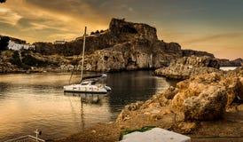 La baia di St Paul e mar Egeo di orizzonte fotografie stock libere da diritti