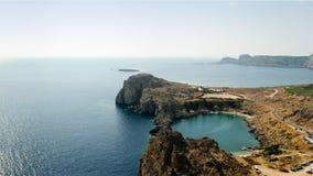 La baia di St Paul ed il mar Mediterraneo, Grecia fotografia stock libera da diritti