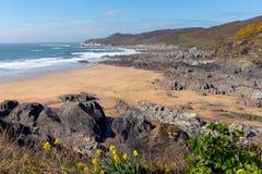La baia di Woolacombe e la spiaggia Devon England e Morte indicano Fotografia Stock Libera da Diritti