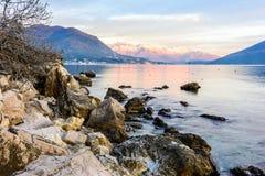 La baie de Kotor, aube Image libre de droits