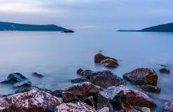 La baie de Kotor, coucher du soleil Photo libre de droits