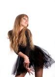 La bailarina hermosa en el negro Imagenes de archivo