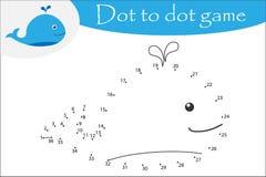 La baleine dans le style de bande dessinée, pointillent pour pointiller le jeu, la page de coloration, jeu de nombres d'éducation illustration de vecteur