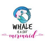 La balena è un testo divertente di vettore del ` grasso della sirena royalty illustrazione gratis