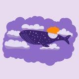La balena di notte vola attraverso il cielo Fotografie Stock Libere da Diritti