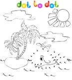 La balena vicino all'isola con le palme punteggia per punteggiare Immagini Stock Libere da Diritti