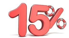 La balise de vie le signe 3D de 15 pour cent rendent l'illustration illustration stock