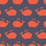 La ballena del modelo de los niños forma vector inconsútil Fondo lindo con las siluetas rojas apenadas de la ballena en azul Dise libre illustration
