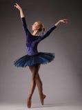 La ballerina incredibilmente bella in attrezzatura blu è posante e ballante nello studio Arte di balletto classico Immagini Stock Libere da Diritti