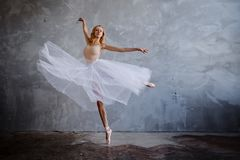 La ballerine mince superbe dans une robe noire pose dans le studio image stock
