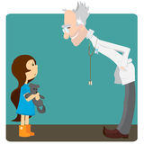 La bambina al ricevimento al medico illustrazione di stock
