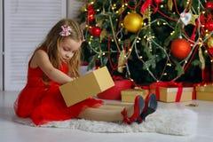 La bambina celebra il Natale immagine stock