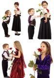 La bambina con il ragazzo ed è aumentato Fotografie Stock