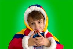 La bambina con un regalo Fotografie Stock Libere da Diritti