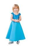 La bambina dell'innamorato in abito blu ha isolato Fotografie Stock Libere da Diritti