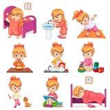 La bambina fa le illustrazioni sistematiche quotidiane messe royalty illustrazione gratis