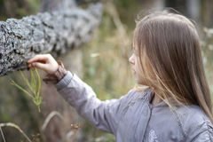 la bambina guarda da parte in autunno nel parco Immagini Stock