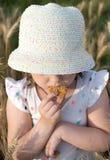 La bambina mangia il biscotto sull'aria aperta Immagine Stock Libera da Diritti