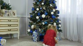 La bambina mette i regali sotto un albero di Natale video d archivio