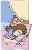 La bambina nel suo sogno dolce di sonno della castella Immagine Stock