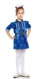 La bambina nel vestito blu Immagini Stock