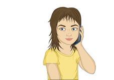 La bambina parla sul cellulare e sul sorridere Il bambino portato illustrazione di stock
