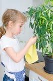 La bambina pulisce la polvere dal fiore fotografie stock